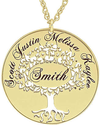 JCPenney FINE JEWELRY Personalized 14K Gold Over Silver Family Tree Name Pendant Necklace