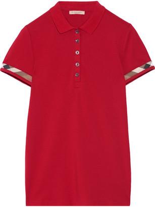 Burberry - Stretch-cotton Piqué Polo Shirt - Claret $195 thestylecure.com