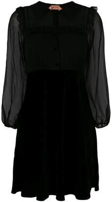 No.21 ruffle-trim velvet dress