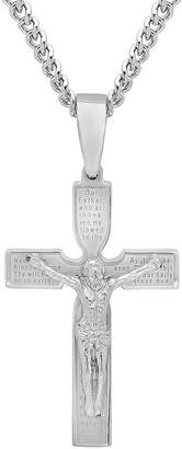 FINE JEWELRY Mens Stainless Steel Crucifix Pendant Necklace