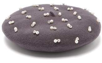 Benoit Missolin Pearl And Crystal Embroidered Wool Beret - Womens - Grey