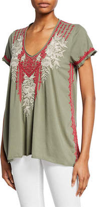 Johnny Was Camille Embroidered Drape V-Neck Short-Sleeve Cotton Top
