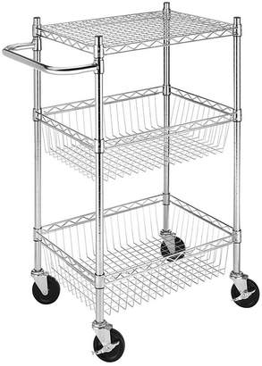 Whitmor Rolling 3-Tier Commercial Basket Cart
