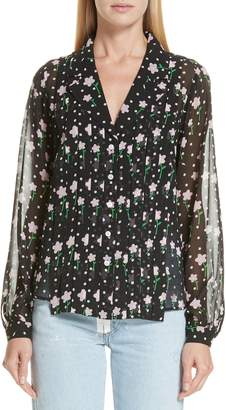Sandy Liang Floral Print Pleated Silk Blouse