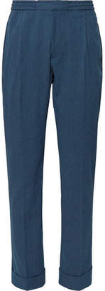 Navy Drew Slim-Fit Cotton-Blend Seersucker Drawstring Suit Trousers