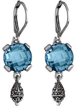 Sara Blaine Blue Topaz Aegean Silver Scroll Earrings