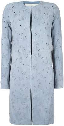 Drome cut-off pattern collarless coat