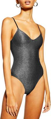 Topshop Metallic Cami Swimsuit