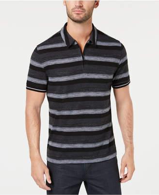 Alfani Men's Overdyed Stripe Quarter-Zip Polo