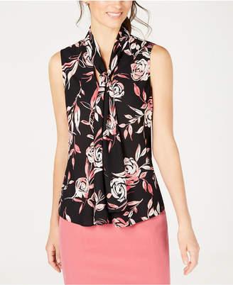 Nine West Sleeveless Tie-Neck Printed Blouse