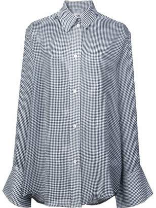 Nomia gingham sheer long-sleeve blouse