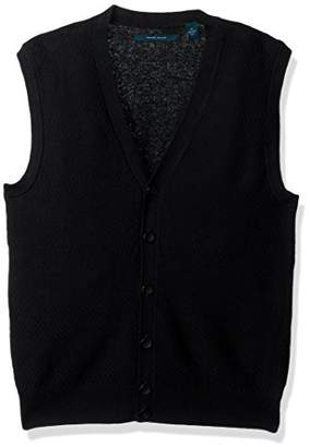 Perry Ellis Men's Solid Textured Button Front Sweater Vest