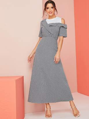 Shein Gingham Contrast One Cold Shoulder Dress