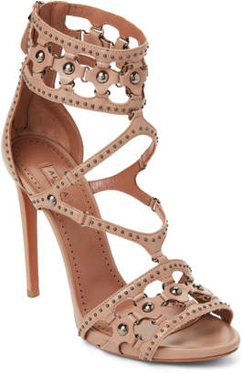Alaia Blush Studded Ankle Strap Sandals