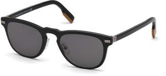 Ermenegildo Zegna Square Plastic Keyhole Sunglasses