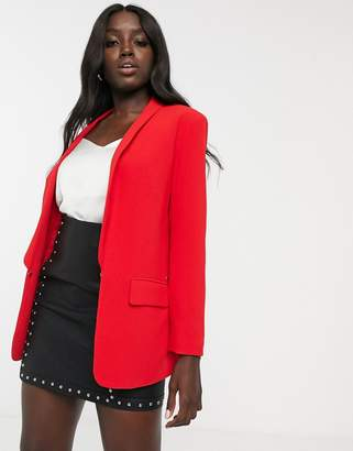 Morgan tailored blazer with lapel and pocket detail in red