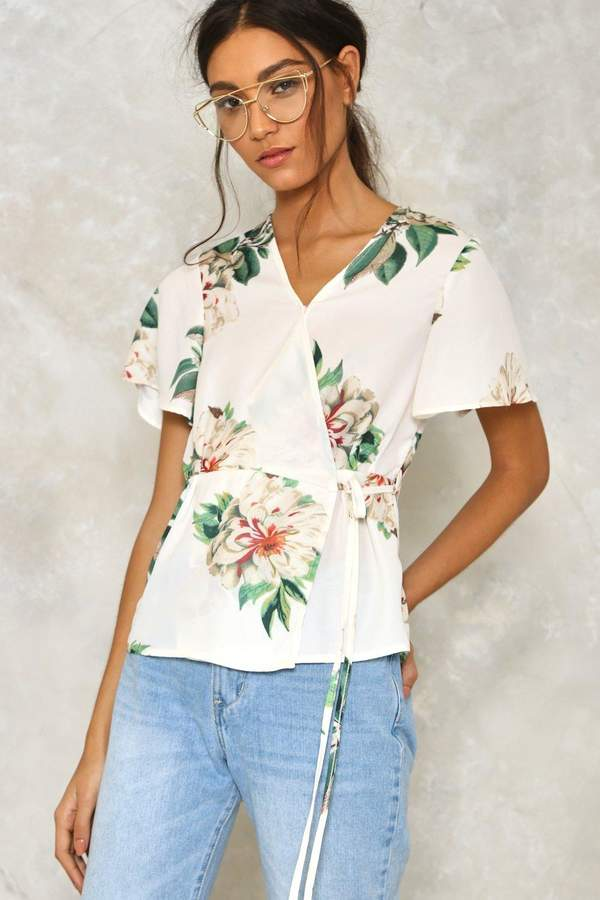 nastygal All Together Now Floral Blouse