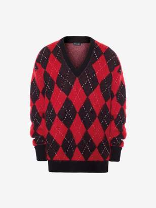 Alexander McQueen Wool Mohair Argyle V-Neck Sweater