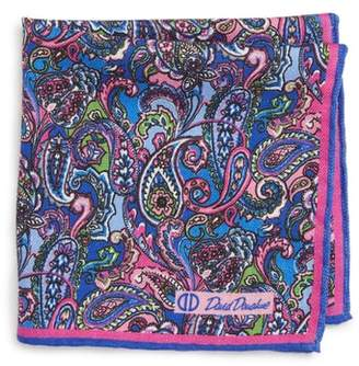 David Donahue Paisley Wool & Silk Pocket Square