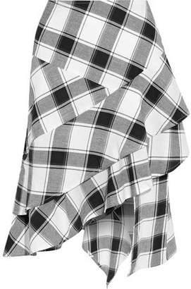 Walter W118 By Baker Asymmetric Ruffled Checked Cotton-Gauze Skirt