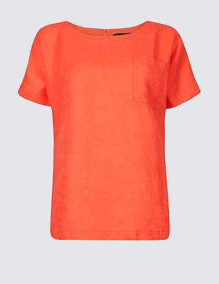 Marks and Spencer Pure Linen Round Neck Short Sleeve Shell Top