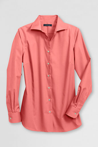 Lands' End Women's Petite Long Sleeve Easy-care Broadcloth Blouse