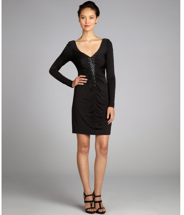 Laundry by Shelli Segal black stretch knit jersey jeweled center ruched long sleeve dress