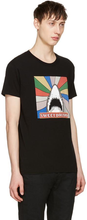 Saint Laurent Black Sweet Dreams Shark T-Shirt 2