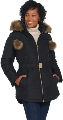 Susan Graver Quilted Puffer Coat with Faux Leather Trim and Pom Poms
