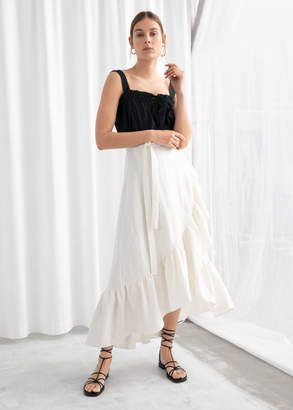 And other stories Ruffled Linen Midi Wrap Skirt