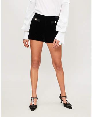 Claudie Pierlot Diamond-stitching velvet shorts