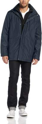 Calvin Klein Men's Poly Bonded Jacket with Removable Hood and Fleece Bib