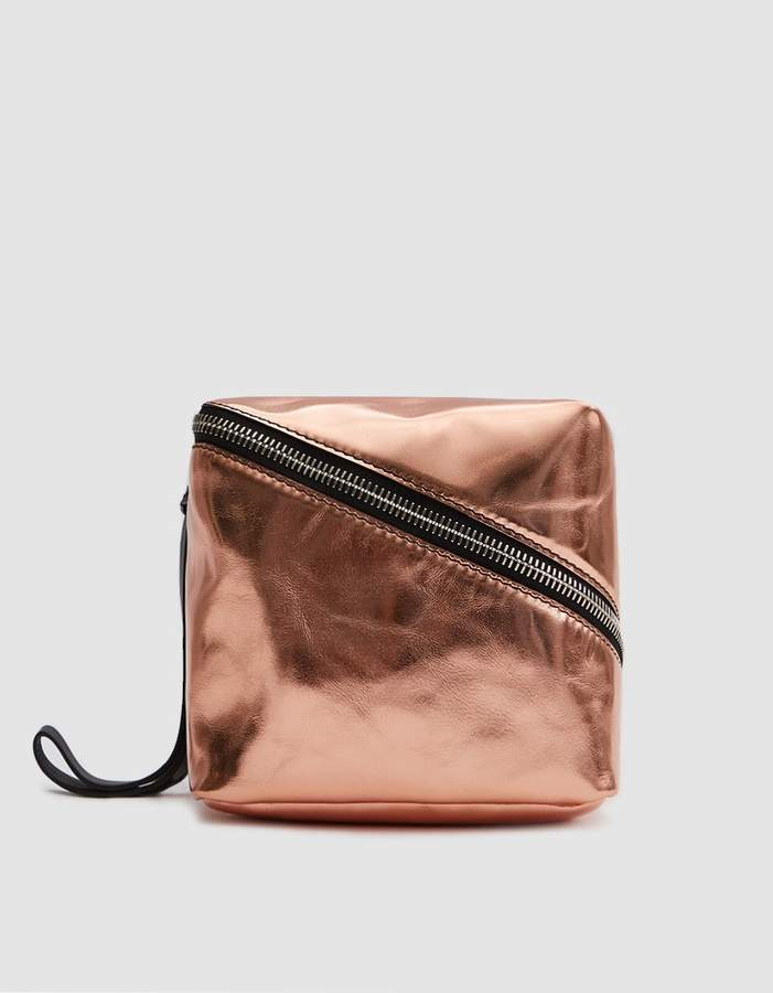 Metallic Leather Mini Cube in Rose Gold