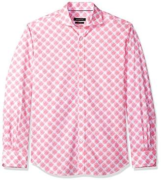 Bugatchi Men's Long Sleeve Tapered Fit Printed Cotton Spread Collar Shirt