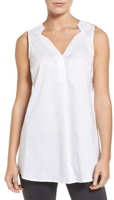 Women's Foxcroft Sleeveless Stretch Poplin Tunic $54 thestylecure.com