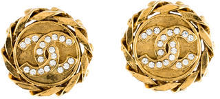 Chanel Chanel Crystal CC Clip On Earrings
