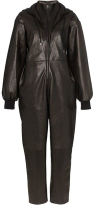 Montana hooded leather jumpsuit