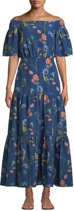 Borgo De Nor Emelia Off-The-Shoulder Vintage-Floral Tiered Maxi Dress