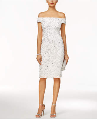 Adrianna Papell Off-The-Shoulder Beaded Sheath Dress $199 thestylecure.com