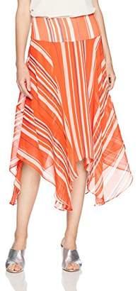 Paris Sunday Women's Handkerchief Hem Crinkle Chiffon Midi Skirt