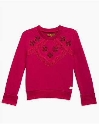 7 For All Mankind Kids Girls 4-6X Pop-Over Sweater In Anemone