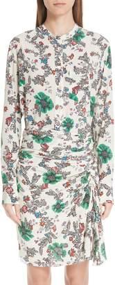 Isabel Marant Rusak Floral Print Stretch Silk Blouse