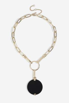 Topshop Enamel Disc Pendant Necklace