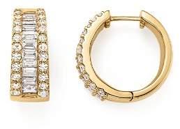 Bloomingdale's Baguette and Round Diamond Huggie Hoop Earrings in 14K Yellow Gold, 2.0 ct. t.w. - 100% Exclusive