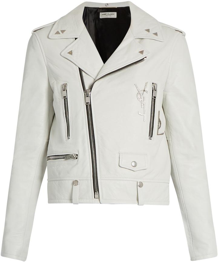 Saint LaurentSAINT LAURENT Logo-embellished leather biker jacket