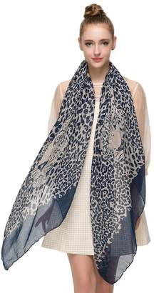 BEIGE HUAN XUN Chiffon Lightweight Leopard Animal Print Scarf Shawl, Navy and