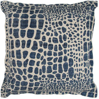 """Rizzy Home Blue 22"""" X 22"""" Animal Print Poly Filled Pillow"""