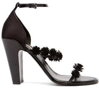 Fabrizio Viti - Daisy Floral Applique Leather Sandals - Womens - Black