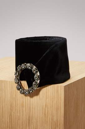 Miu Miu Jewel-Embellished Thin Leather Belt
