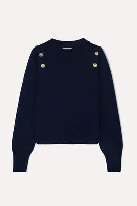 Sonia Rykiel Button-embellished Wool And Cashmere-blend Sweater - Navy